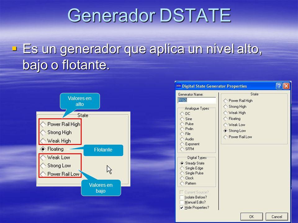 Generador DSTATE Es un generador que aplica un nivel alto, bajo o flotante. Valores en alto. Flotante.
