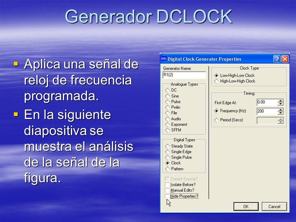 Generador DCLOCK Aplica una señal de reloj de frecuencia programada.