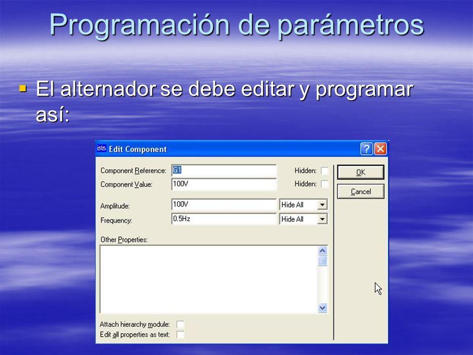 Programación de parámetros