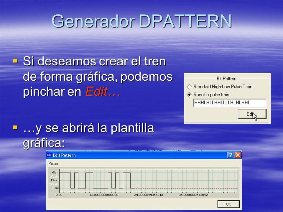 Generador DPATTERN Si deseamos crear el tren de forma gráfica, podemos pinchar en Edit… …y se abrirá la plantilla gráfica: