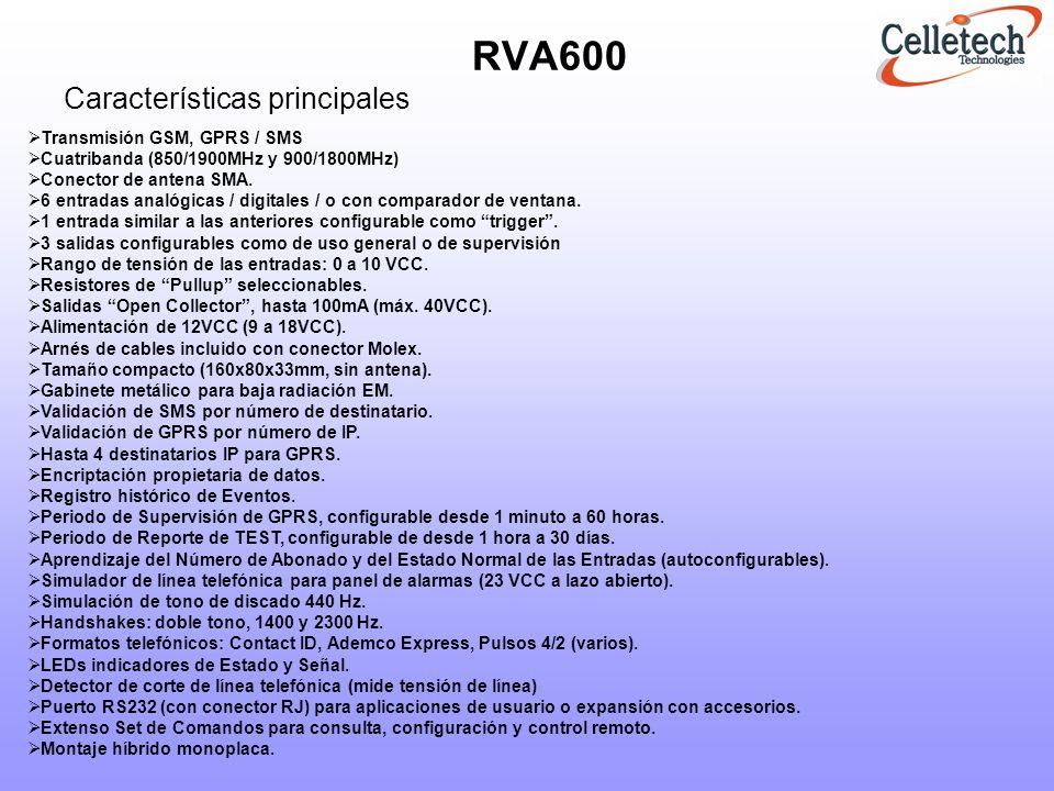 RVA600 Características principales