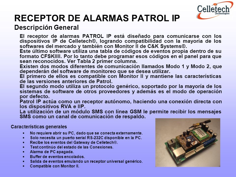 RECEPTOR DE ALARMAS PATROL IP Descripción General