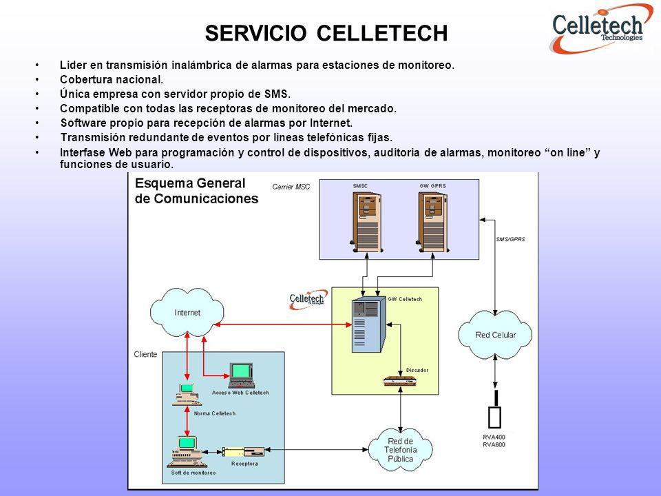 SERVICIO CELLETECH Lider en transmisión inalámbrica de alarmas para estaciones de monitoreo. Cobertura nacional.