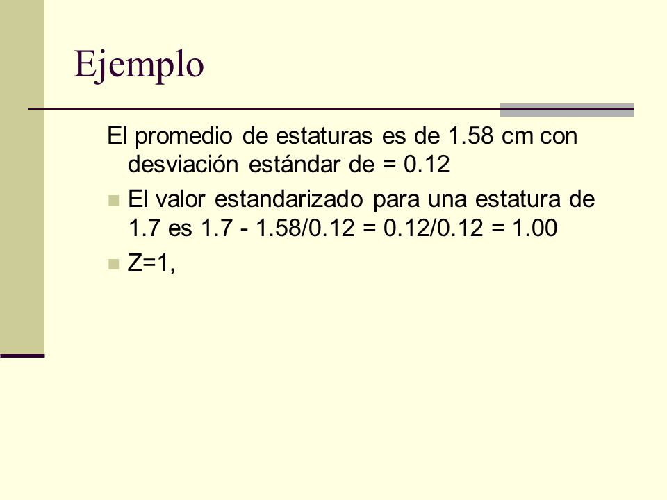 Ejemplo El promedio de estaturas es de 1.58 cm con desviación estándar de = 0.12.