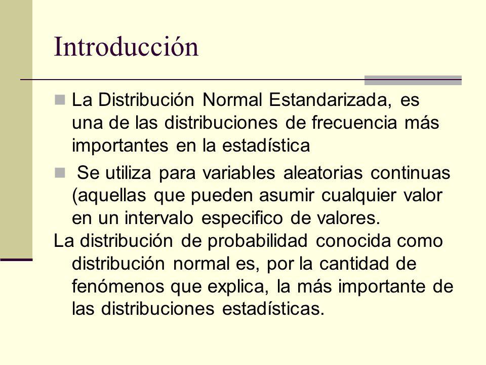Introducción La Distribución Normal Estandarizada, es una de las distribuciones de frecuencia más importantes en la estadística.