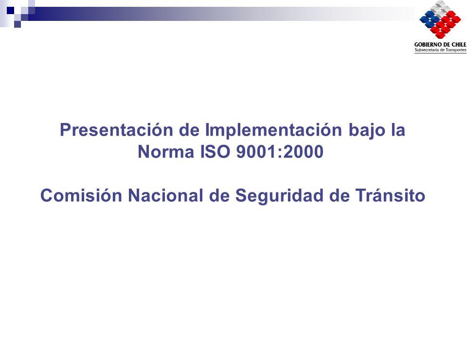 Presentación de Implementación bajo la Norma ISO 9001:2000