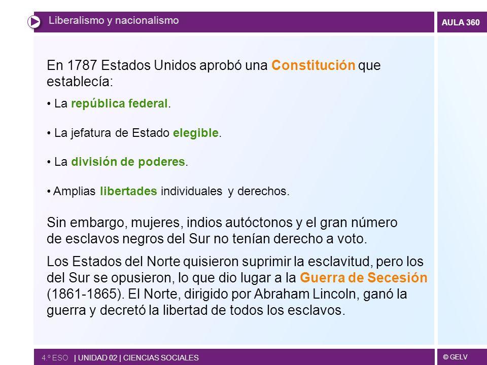 En 1787 Estados Unidos aprobó una Constitución que establecía: