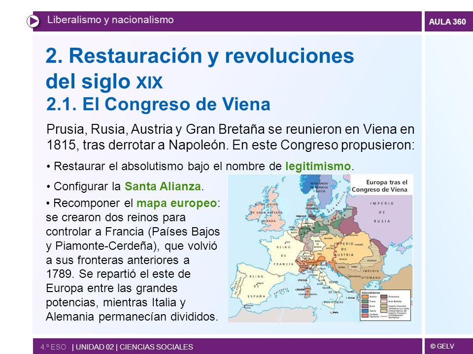 2. Restauración y revoluciones del siglo xix