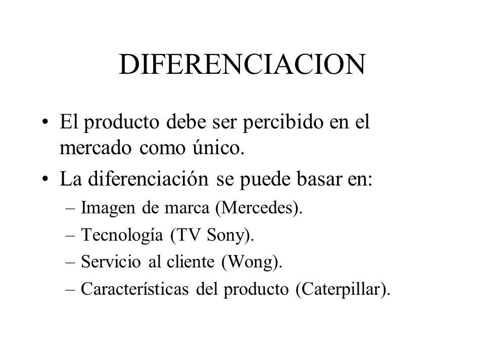 DIFERENCIACION El producto debe ser percibido en el mercado como único. La diferenciación se puede basar en: