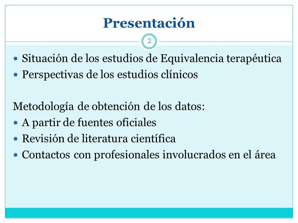 Presentación Situación de los estudios de Equivalencia terapéutica