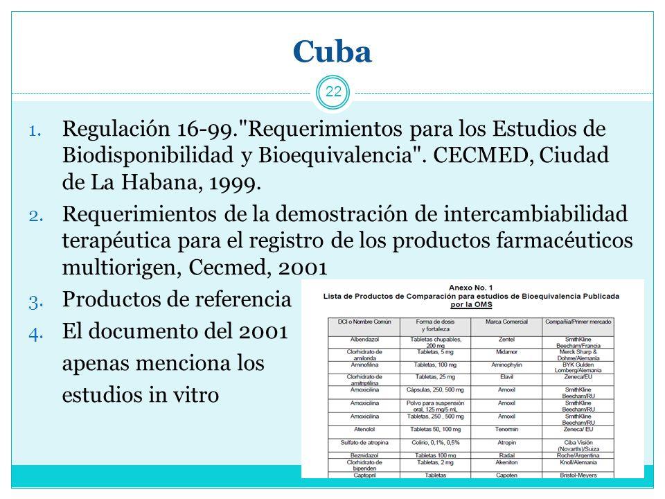 Cuba Regulación 16-99. Requerimientos para los Estudios de Biodisponibilidad y Bioequivalencia . CECMED, Ciudad de La Habana, 1999.