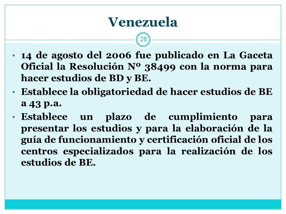 Venezuela 14 de agosto del 2006 fue publicado en La Gaceta Oficial la Resolución Nº 38499 con la norma para hacer estudios de BD y BE.