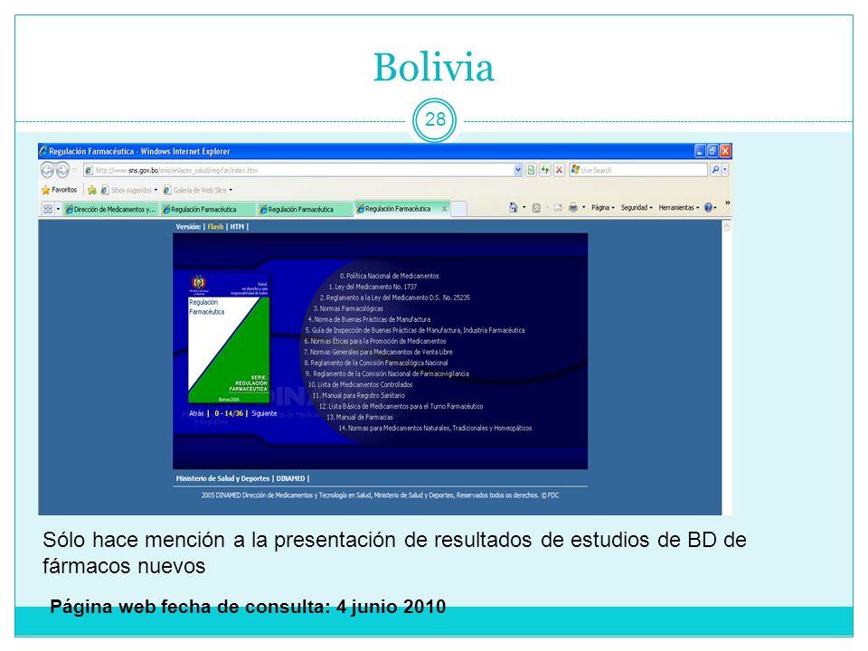 Bolivia Sólo hace mención a la presentación de resultados de estudios de BD de fármacos nuevos.