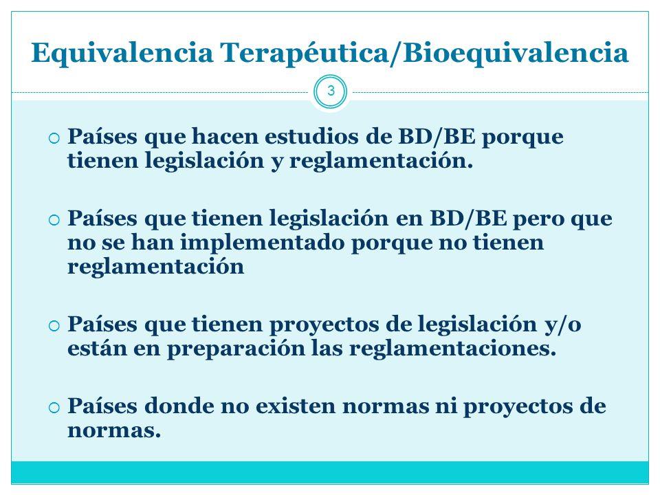 Equivalencia Terapéutica/Bioequivalencia