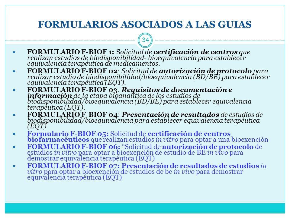 FORMULARIOS ASOCIADOS A LAS GUIAS