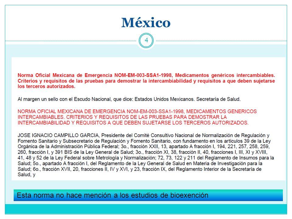 México Esta norma no hace mención a los estudios de bioexención