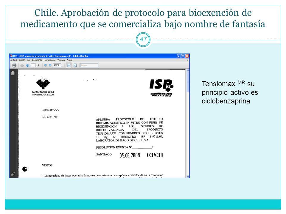 Chile. Aprobación de protocolo para bioexención de medicamento que se comercializa bajo nombre de fantasía