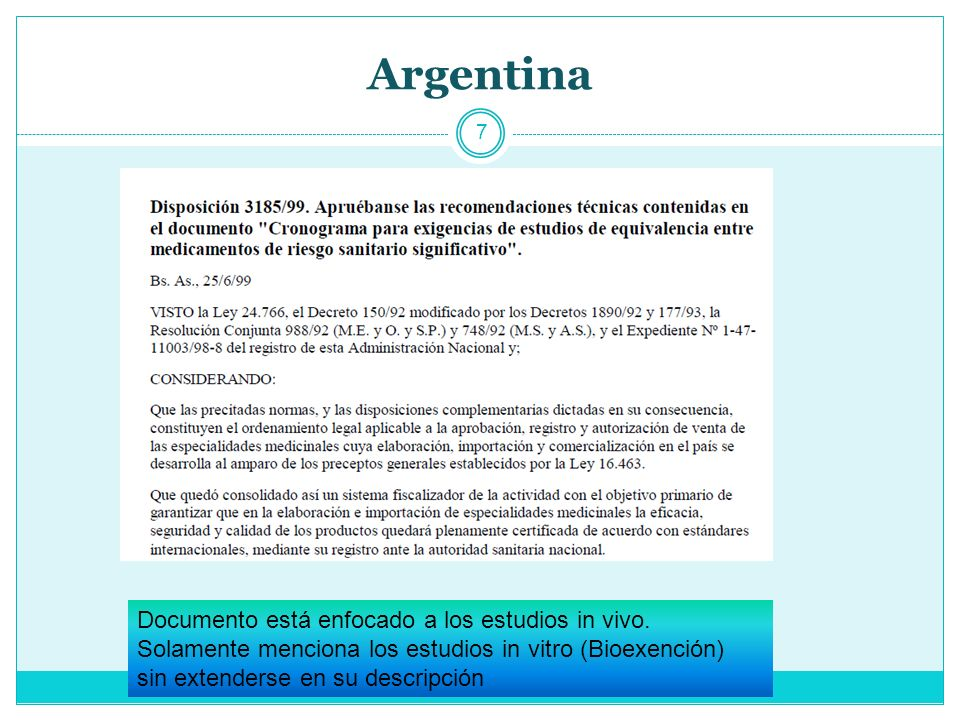 Argentina Documento está enfocado a los estudios in vivo.