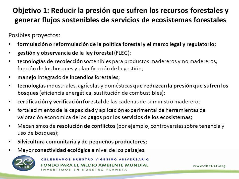 Objetivo 1: Reducir la presión que sufren los recursos forestales y generar flujos sostenibles de servicios de ecosistemas forestales