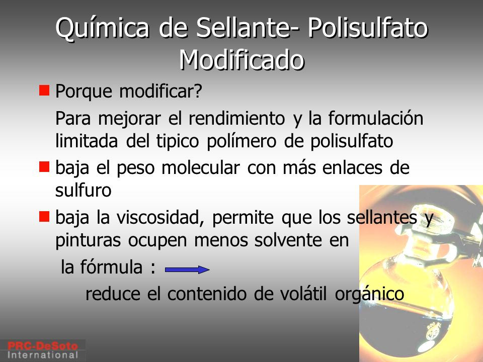 Química de Sellante- Polisulfato Modificado