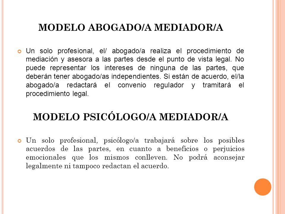 MODELO ABOGADO/A MEDIADOR/A MODELO PSICÓLOGO/A MEDIADOR/A