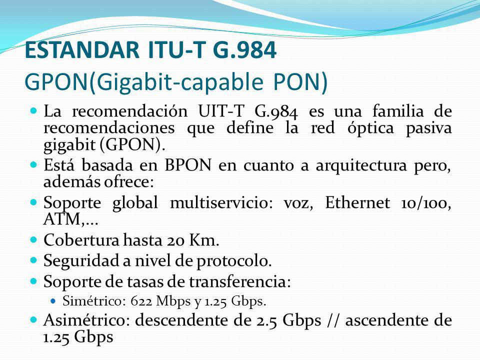 ESTANDAR ITU-T G.984 GPON(Gigabit-capable PON)