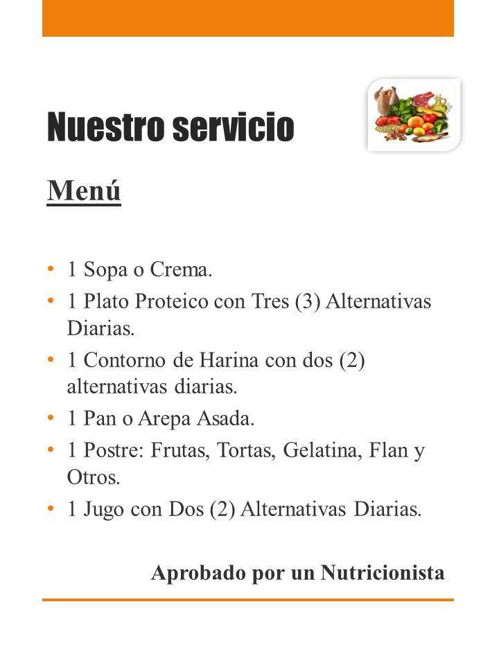 Nuestro servicio Menú 1 Sopa o Crema.