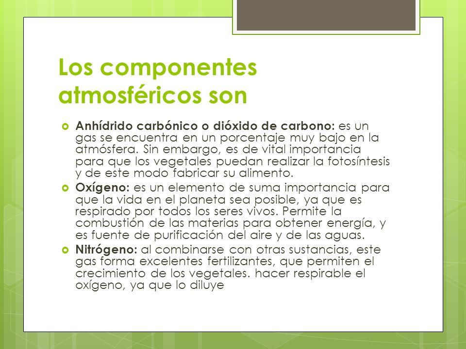 Los componentes atmosféricos son