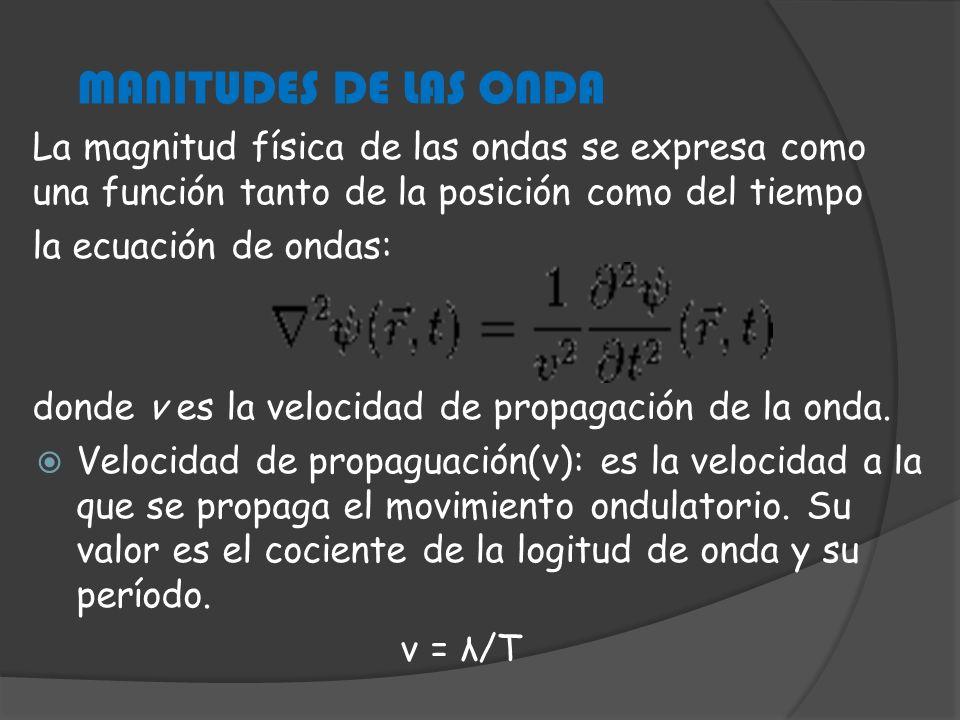 MANITUDES DE LAS ONDA La magnitud física de las ondas se expresa como una función tanto de la posición como del tiempo