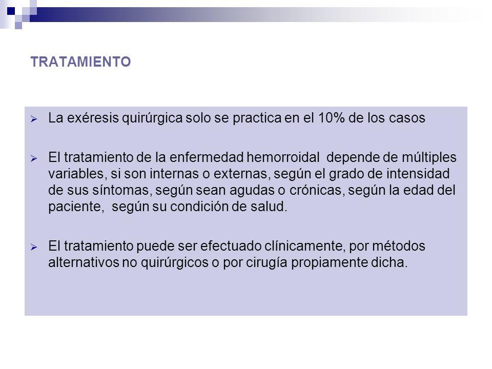 TRATAMIENTO La exéresis quirúrgica solo se practica en el 10% de los casos.