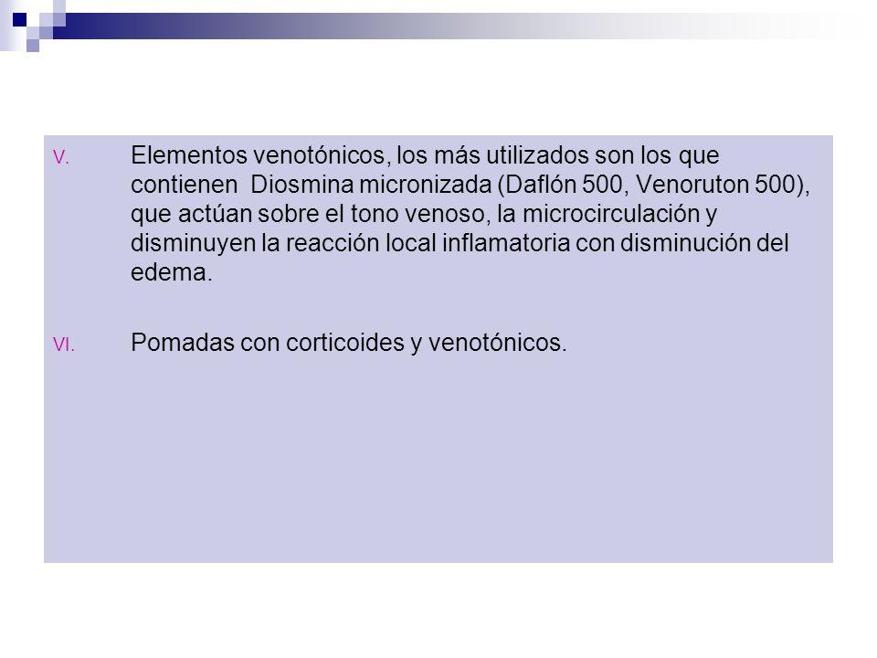 Elementos venotónicos, los más utilizados son los que contienen Diosmina micronizada (Daflón 500, Venoruton 500), que actúan sobre el tono venoso, la microcirculación y disminuyen la reacción local inflamatoria con disminución del edema.