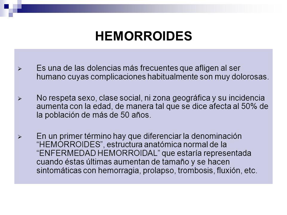 HEMORROIDES Es una de las dolencias más frecuentes que afligen al ser humano cuyas complicaciones habitualmente son muy dolorosas.
