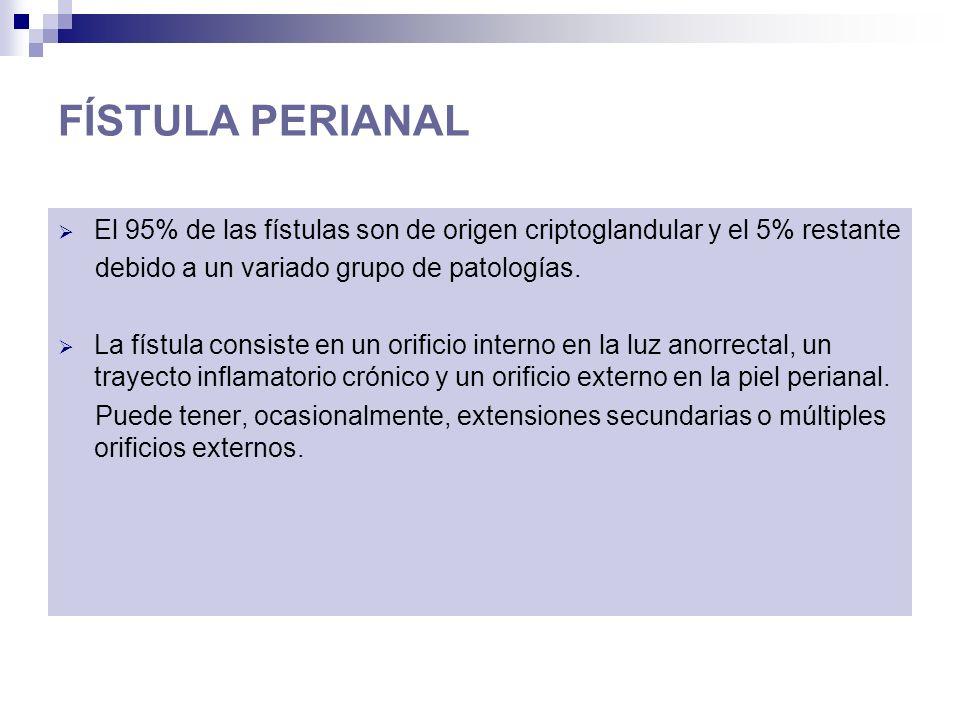 FÍSTULA PERIANAL El 95% de las fístulas son de origen criptoglandular y el 5% restante. debido a un variado grupo de patologías.