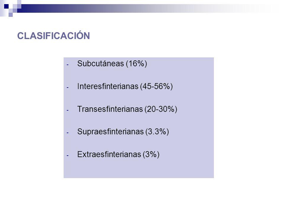 CLASIFICACIÓN Subcutáneas (16%) Interesfinterianas (45-56%)