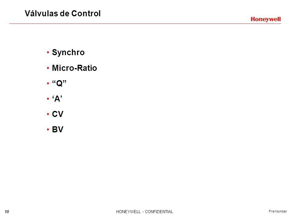 Válvulas de Control Synchro Micro-Ratio Q 'A' CV BV