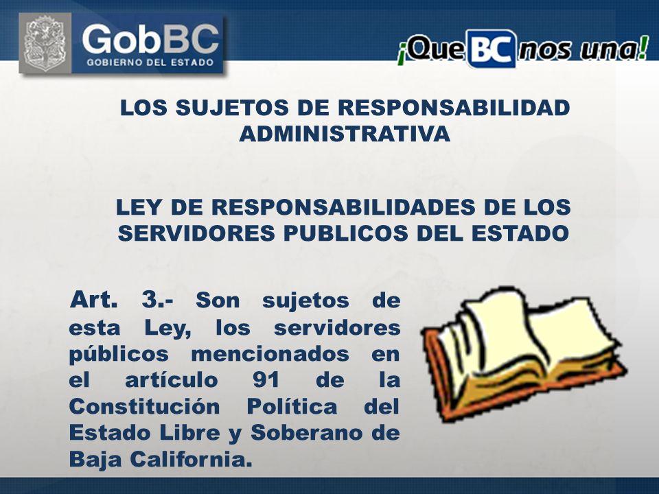 LOS SUJETOS DE RESPONSABILIDAD ADMINISTRATIVA