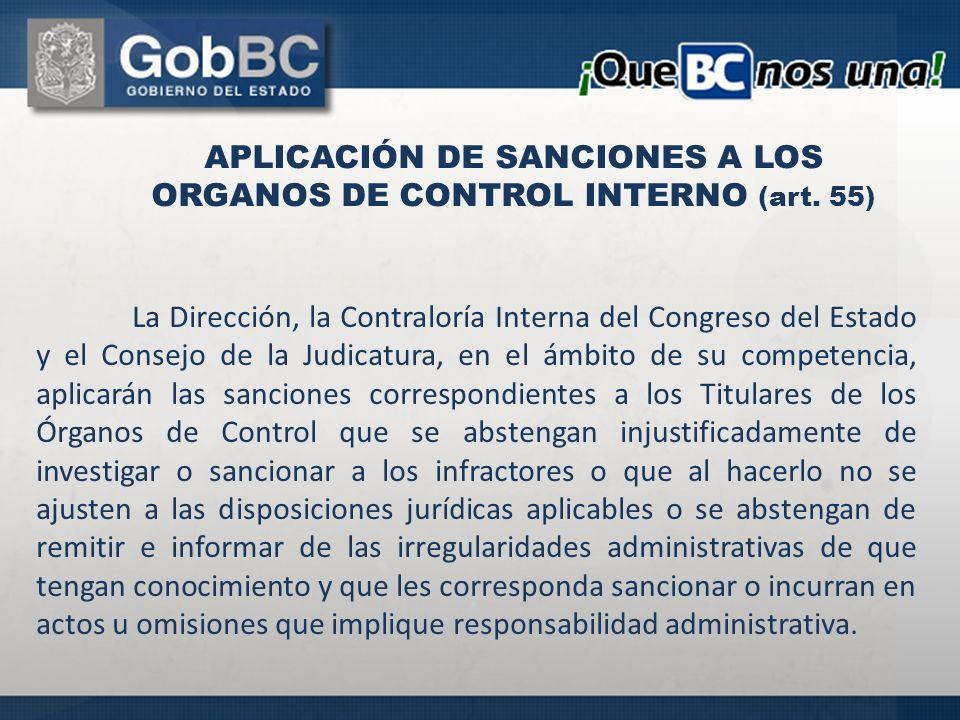 APLICACIÓN DE SANCIONES A LOS ORGANOS DE CONTROL INTERNO (art. 55)