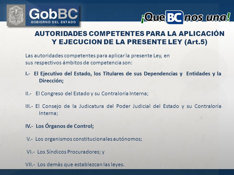 AUTORIDADES COMPETENTES PARA LA APLICACIÓN