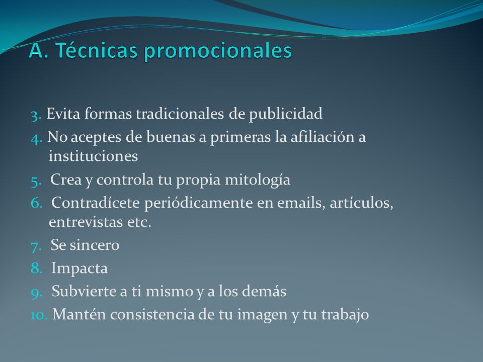 A. Técnicas promocionales