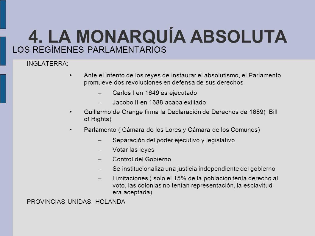 4. LA MONARQUÍA ABSOLUTA LOS REGÍMENES PARLAMENTARIOS INGLATERRA: