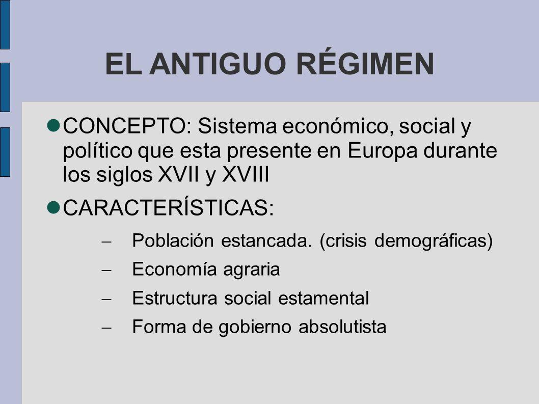 EL ANTIGUO RÉGIMEN CONCEPTO: Sistema económico, social y político que esta presente en Europa durante los siglos XVII y XVIII.