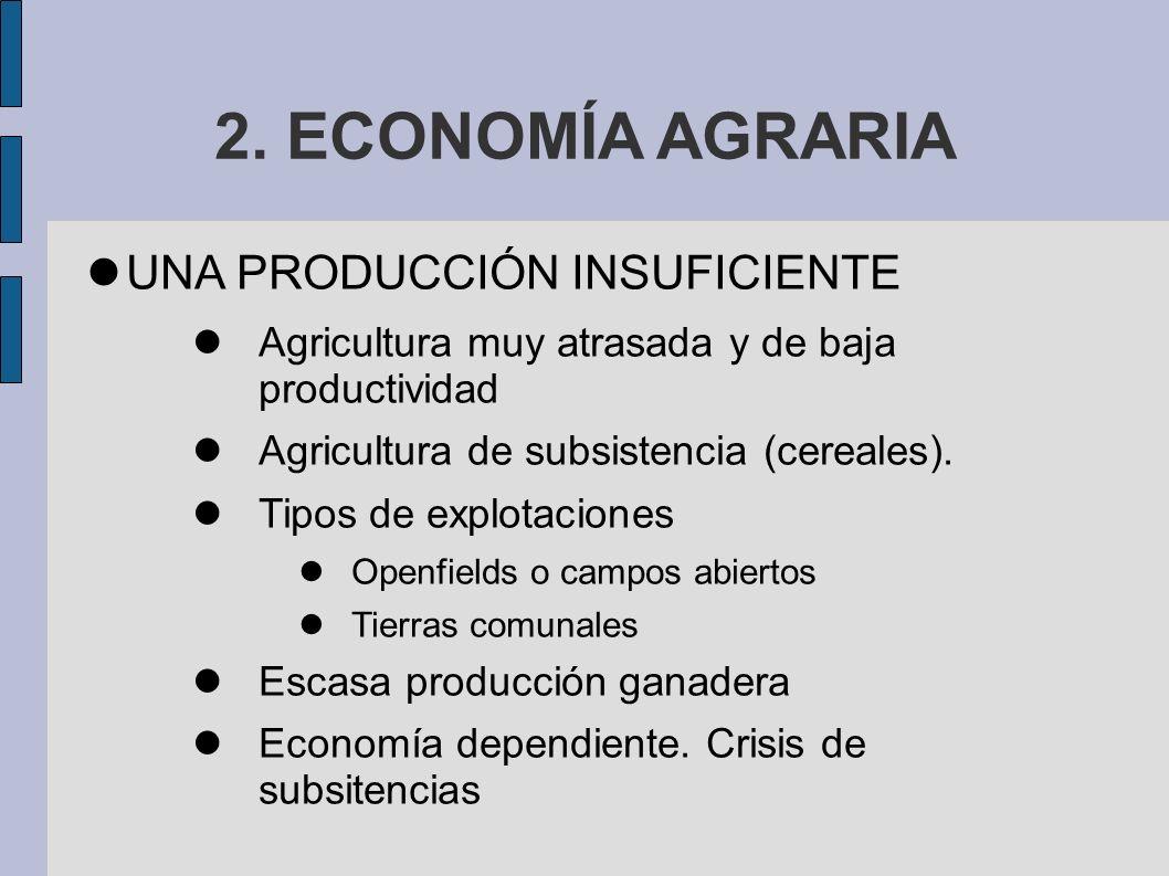 2. ECONOMÍA AGRARIA UNA PRODUCCIÓN INSUFICIENTE