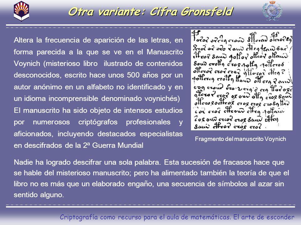 Otra variante: Cifra Gronsfeld