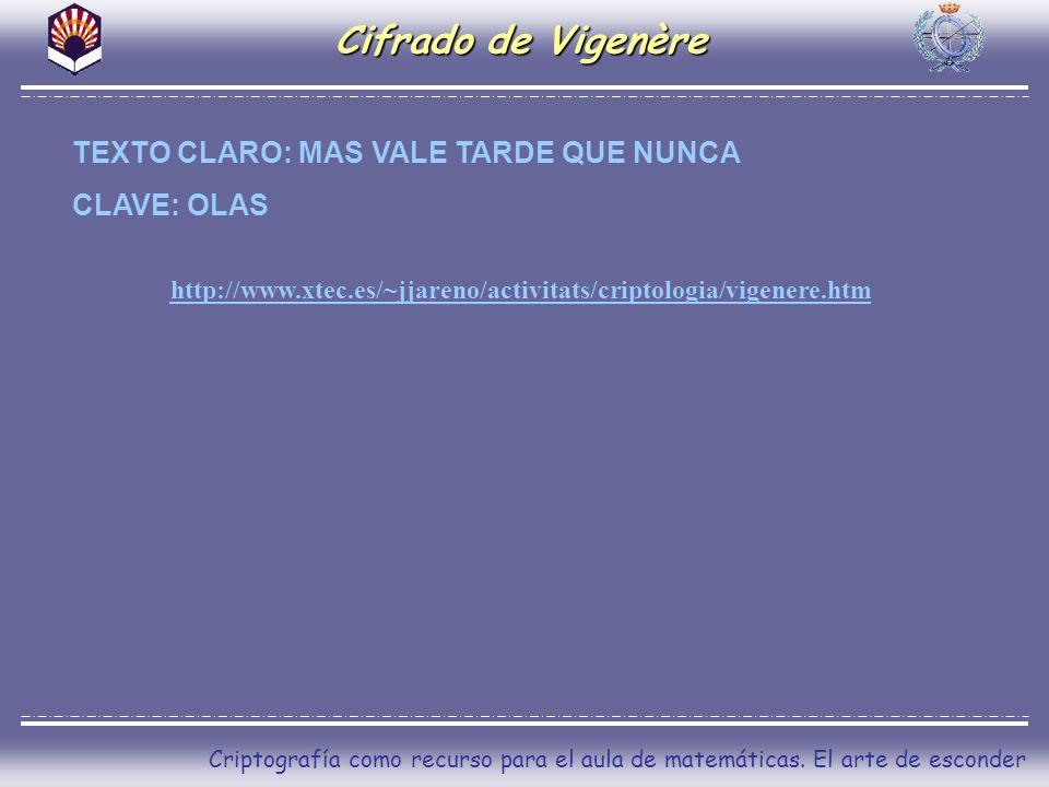 Cifrado de Vigenère TEXTO CLARO: MAS VALE TARDE QUE NUNCA CLAVE: OLAS