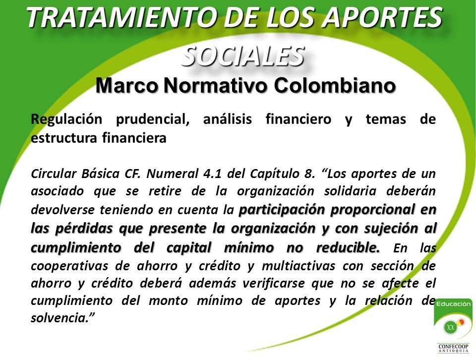 TRATAMIENTO DE LOS APORTES SOCIALES