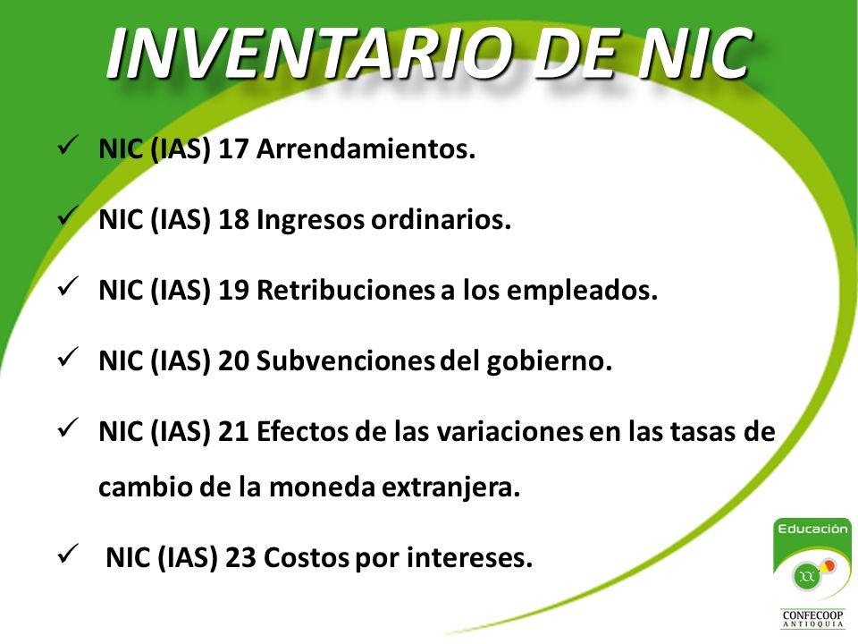 INVENTARIO DE NIC NIC (IAS) 17 Arrendamientos.