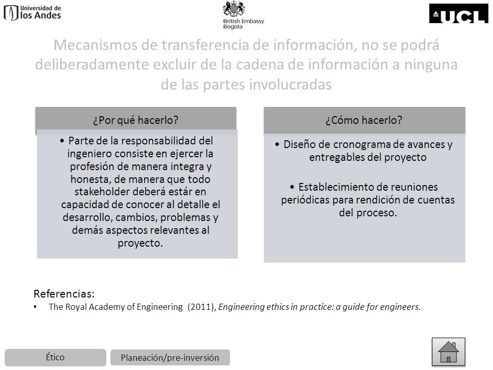 Mecanismos de transferencia de información, no se podrá deliberadamente excluir de la cadena de información a ninguna de las partes involucradas
