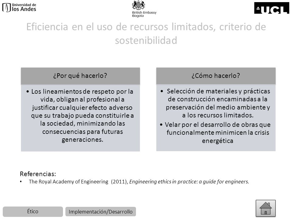 Eficiencia en el uso de recursos limitados, criterio de sostenibilidad