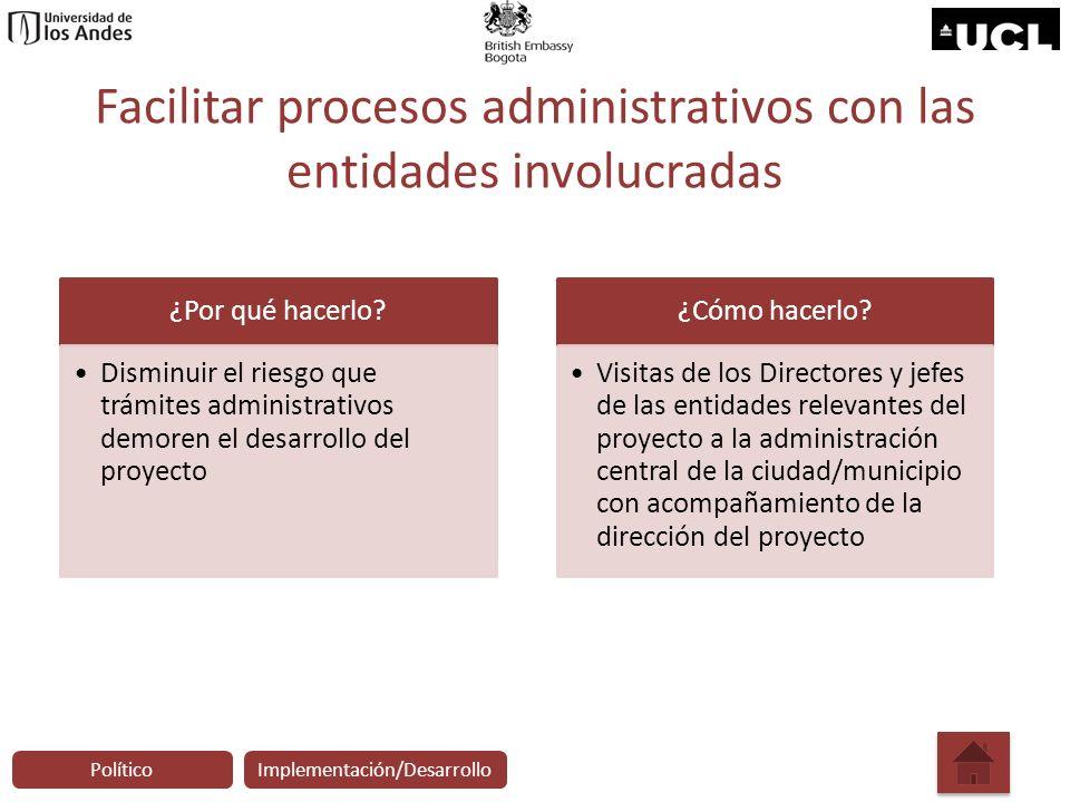 Facilitar procesos administrativos con las entidades involucradas
