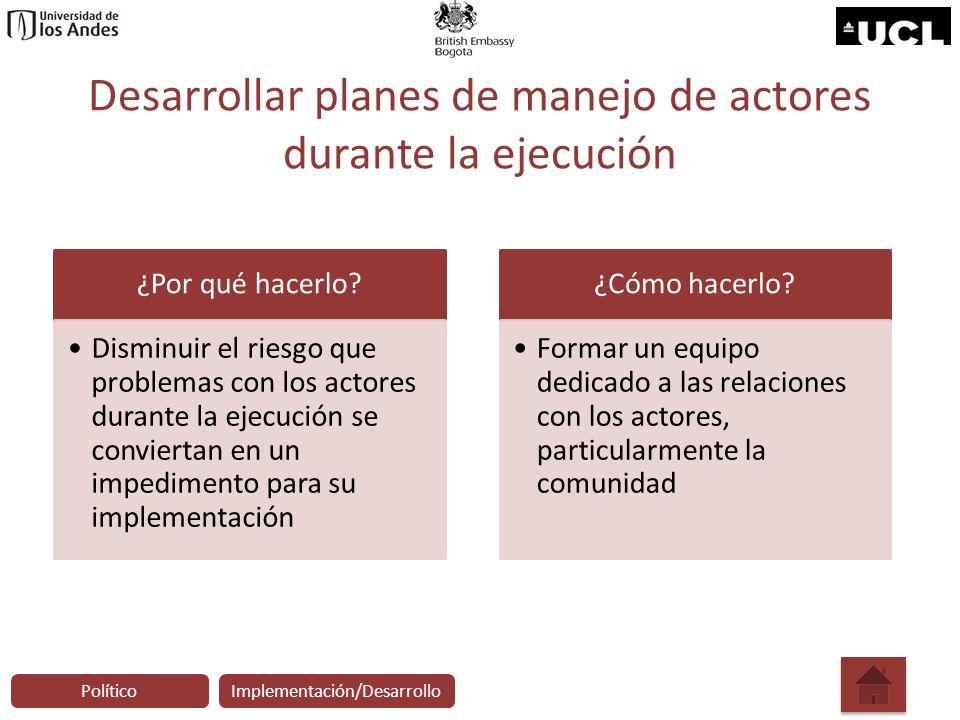 Desarrollar planes de manejo de actores durante la ejecución
